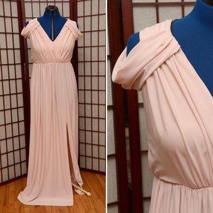 ASOS Curve Light Pink Draped Maxi Dress with Slit